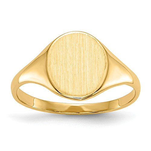 ellow Gold Engravable Signet Ring (10mm) (Yellow Gold Womens Signet Ring)