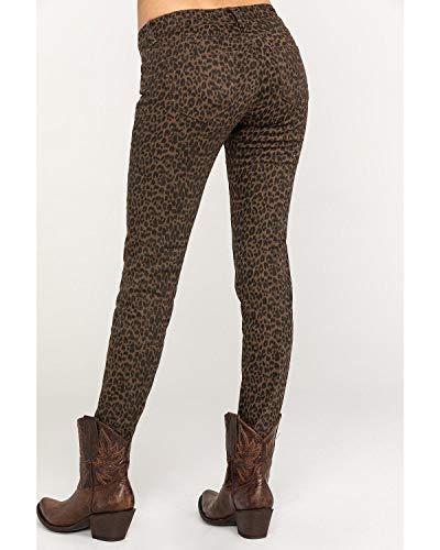 Grace in LA Women's Leopard Skinny Jeans Tan 27W x 30L
