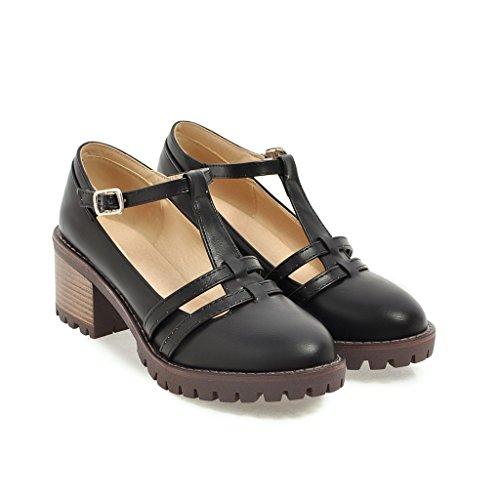 Femmes Chaussures Ronde Talons amp;X à Bloc Bouche Tête Talon Peu Black QIN Profonde SwqOTxfnSW