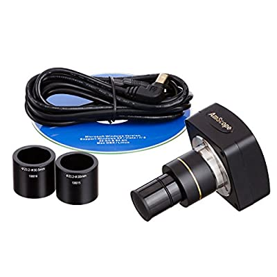 Amscope MU1000 10MP Still and Live Image Microscope Digital Camera and Editing, Measuring Software, Compatible with Windows XP/Vista/7/8/10, Mac OSX, Linux