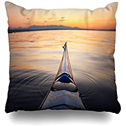 Ahawoso Throw Pillow Cover Kayak Blue Peaceful Bow Sea Sunset Pointed Quiet Bainbridge Sports Recreation Nature Seattle Zippered Pillowcase Square Size 20x20 Inches Home Decor Pillow Case