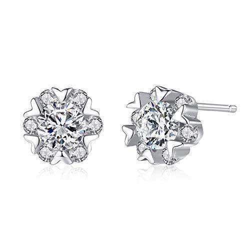 (FFD Sterling Silver Earring Snowflake Design Zircon Crystal Studs Earrings Temperament Earrings Wild Fashion/Silver / 88mm)