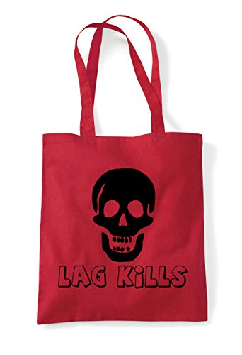 Gaming Statement Bag Icon Skull Kills Shopper Gamer Lag Tote Red qpSIn