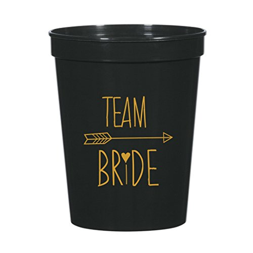 Team Bride with Arrow Bachelorette Party Plastic Stadium Cups in Black and Metallic Gold