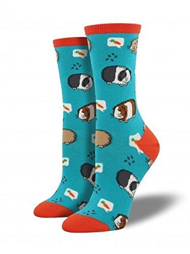 "Socksmith Womens' Novelty Crew Socks ""Guinea Pigs"" - 1 pair (Turquoise)"