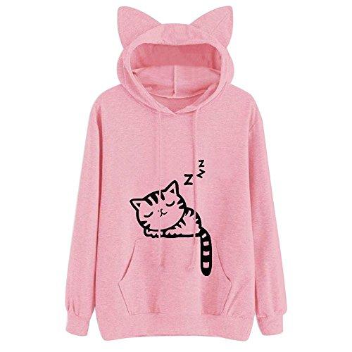 Shirt Camp Gauze - HGWXX7 Hot Sale Women's Sweatshirt Trend Cat Long Sleeve Hooded Pullover Tops Shirt Blouse(2XL,Pink)