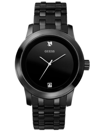 GUESS  Black Ionic Plated Genuine Diamond Dial Bracelet Watch. Color: Black (Model: U12604G1)