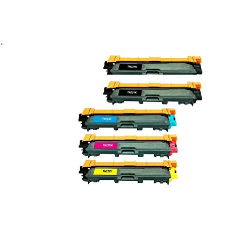TOPTECH TONER Brother Compatible TN221 & TN225 Set of 5 Laser Toner Cartridges with 2 of Black use for Brother HL-3140CW. HL-3170CDW, MFC-9130CW, MFC-9330CDW & MFC9340CDW Printers