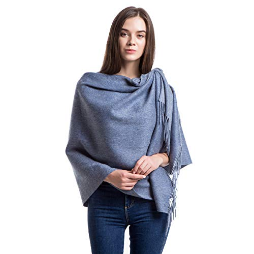 Cashmere Wrap Shawl Stole for Women, Winter Extra Large(79in x 28in) Wool Scarf, Denim Blue ()