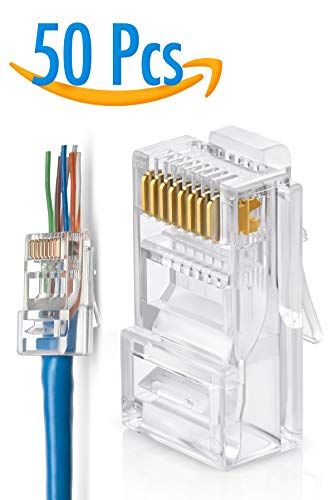 (RJ45 Cat6 Pass Through Connectors Pack of 50 | EZ Crimp Connector UTP Network Plug for Unshielded Twisted Pair Solid Wire & Standard Cables | Transparent Passthrough Ethernet Insert)