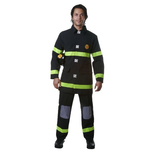 Dress Up America Adult Black Fire Fighter, Multi-Colored, Medium]()