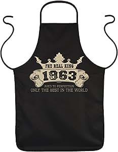Delantal con diseño divertido cumpleaños: The Real King 1963Only the best in the World–Delantal–Cocina–Hornear–Talla única–Negro