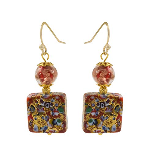 Just Give Me Jewels Genuine Venice Murano Klimt Glass Square Dangle Earrings - Red