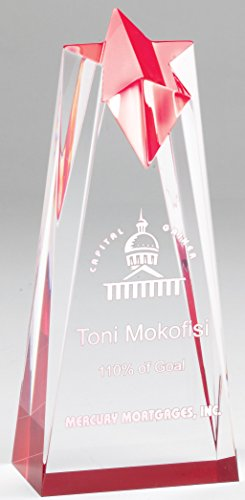 Crystal Star Trophy - The Trophy Studio Reflective Star Crystal Tower Red Acrylic Award J6 Std Pack Laserable 3 1/2