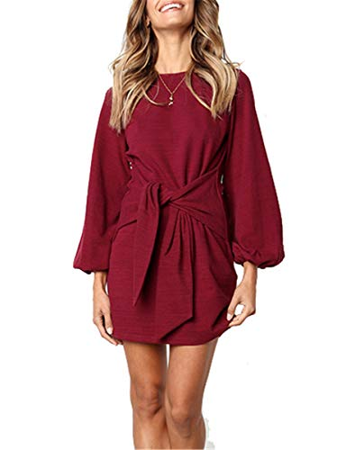 MIDOSOO Womens Curved Hem Self Tie Waist Casual Tunic Shirt Blouse Dress Belt Wine Red - Womens Cloth Knot