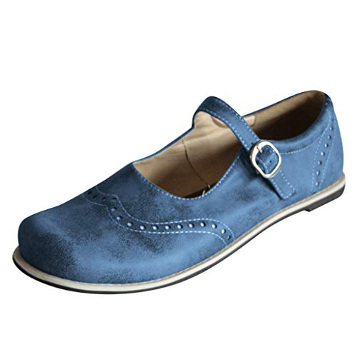 Women's Buckle Ankle Strap Slip-on Comfort Mary Jane Flat Roman Shoes by Nevera Blue ()