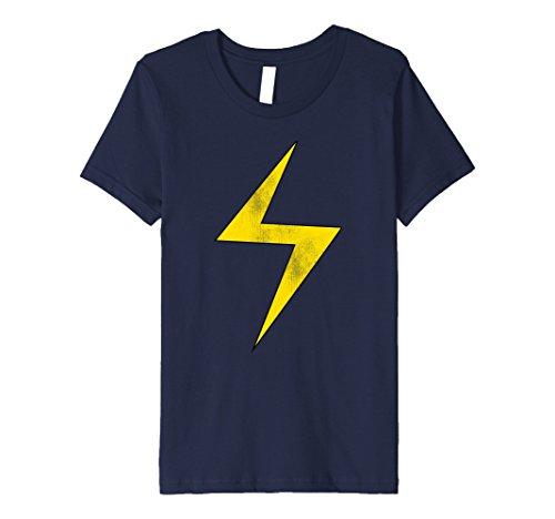 Kids Marvel Ms. Marvel Lightning Bolt Icon Premium T-Shirt 8 Navy