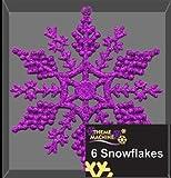 Le Paquet de 6 Décorations de Noël de Flocons de neige d'Accrochage Brillées Pourpres (DP24C)