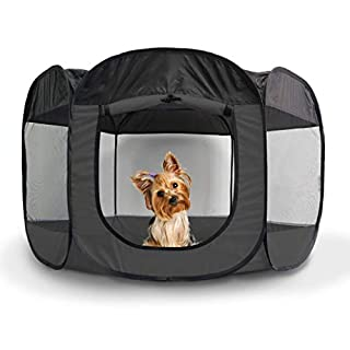 Furhaven Pet Playpen - Indoor/Outdoor Mesh Open-Air Playpen & Exercise Pen Tent House Playground for Dogs & Cats, Gray, Small