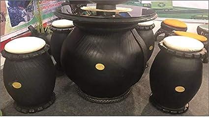 DeDzines Handcrafted Big Mushroom Table with 4 Mushroom Stool (Matte, Black) for Home Décor/Office/Garden/Corporates/Restaurant/Hotels