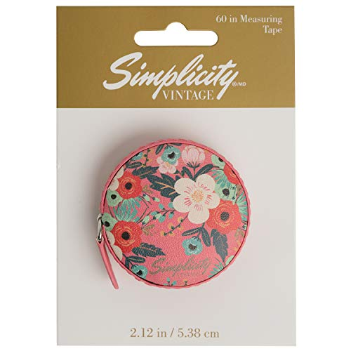Simplicity Vintage Fashion Floral Sewing Measuring Tape, Measures up to 60'', 2.1'' D - Floral Tape Measure