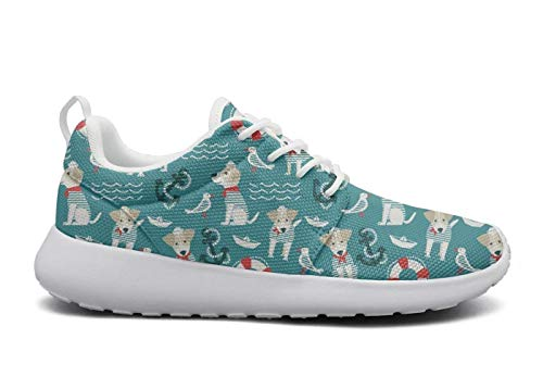 Wear-Resistant Outdoor Sneaker Sailor Terrier Dog Anchor Mens Guys Casual Track Running Shoes