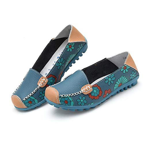 Leather Platforms Lambskin (York Zhu Woman Loafer Flat Shoes Summer Flower Print Leather Shoes)