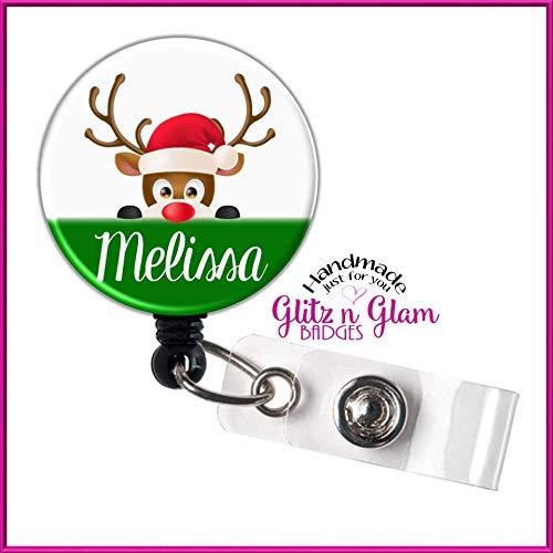 Reindeer Retractable Badge Reel, Personalized Retractable Badge Reel, Nurse Badge Reel, Holiday Badge Clip, Christmas Badge Reel GG4768