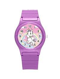 "Kidozooo Boys Girls Cute Unicorn w/ Rainbow 1 3/8"" Diameter Plastic Watch Purple"