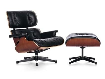 Charles Eames silla chaise longue y otomana - negro cuero italiano ...