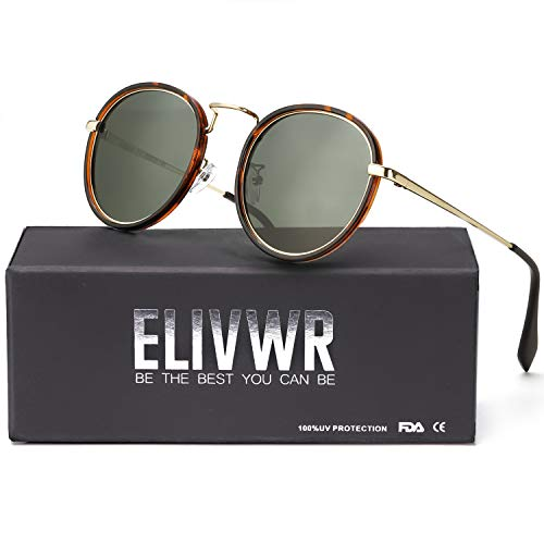 ELIVWR Small Round Sunglasses Women and Men Polarized Lens for Shopping/Driving/Hiking (Tortoise Frame/Green Polarized lens)