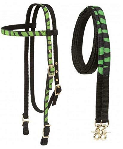 Tough-1 Fun Animal Print Browband Headstall and Matching Split Reins Horse Tack(Neon Green Zebra)