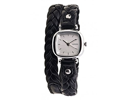 Leather Banded Silver Tone Watch - 1