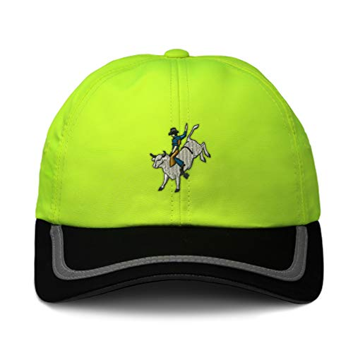 Reflective Running Hat Bull Rider Embroidery Polyester Soft Neon Hunting Baseball Cap Strap Closure One Size Neon Yellow/Black Design Only