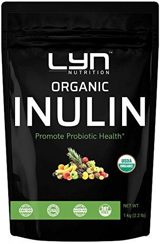 Pure Organic Inulin FOS Powder (Jerusalem Artichoke), 1 Kilogram, Natural Soluble Fiber, Prebiotic Intestinal Support, Colon and Gut Health, Non-GMO, Vegan Friendly by Lyn Nutrition