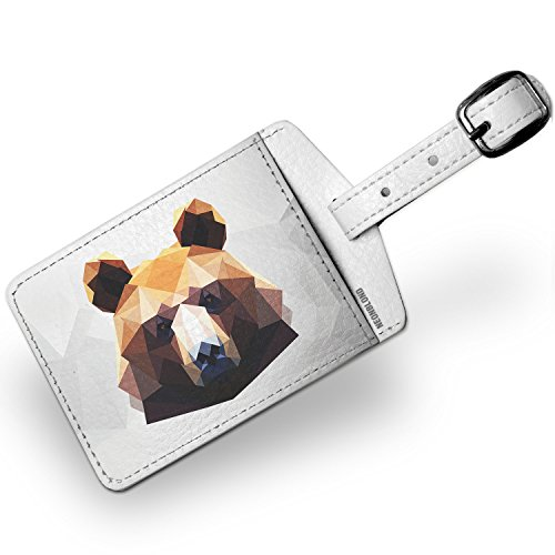 Luggage Tag Low Poly zoo Animals Brown Bear - NEONBLOND