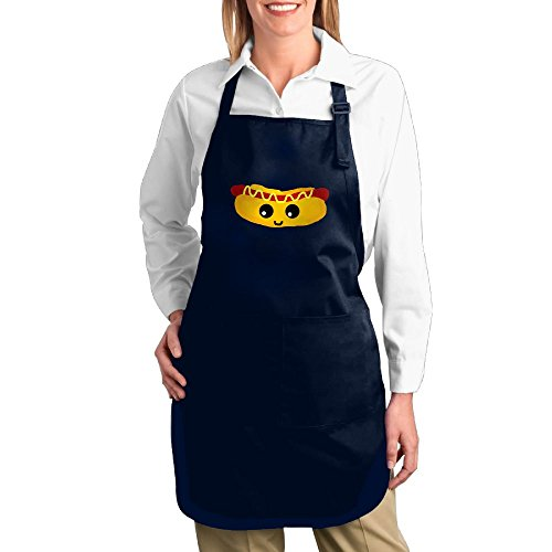 [Dogquxio Cute Hot Dog Kitchen Helper Professional Bib Apron With 2 Pockets For Women Men Adults Navy] (Baby Hot Dog Costume Pattern)