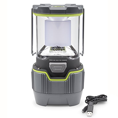 CORE 1000 Lumen CREE LED Rechargeable Camping Emergency Lantern, Lithium Ion Batteries, Charges Cell Phones
