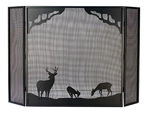 Meyda Tiffany 38521 Deer at Dawn Folding Fireplace Screen, 62″ W x 40″ H