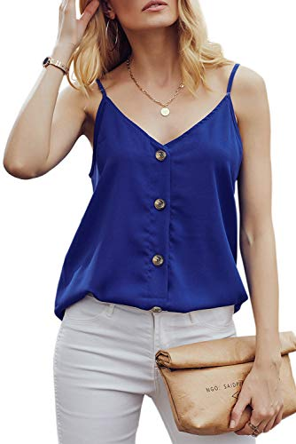 RSM&CHENG Women's Button Down V Neck Strappy Tank Tops Loose Casual Sleeveless Shirts Blouses(Blue,XL)