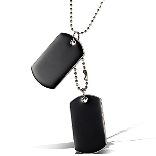 Flongo Men's Punk Rock 2PCS Alloy Black Army Double Dog Tag Pendant Necklace Tribal, 31 Inch Chain