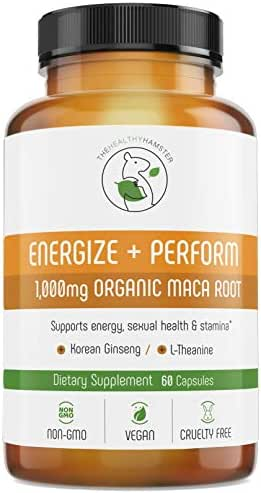 Energy Pills Organic Maca Root - Testosterone Booster with Korean Red Ginseng & L-Theanine - Libido Enhancement for Men & Women - Gluten-Free Vegan Non-GMO Supplement Capsules