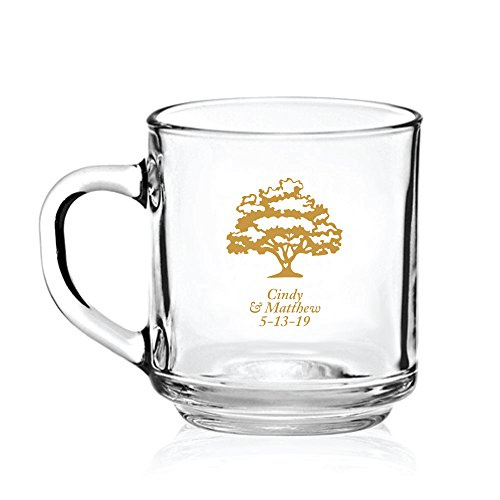 Personalized Color Printed Glass Coffee Mug - Love Tree - Gold - 144 pack by Abby Smith