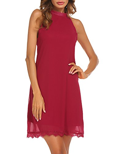 Sherosa Women's Sleeveless Halter Neck Patchwork Lace Mini Casual Shift Dress (M, Wine Red) (Cocktail Knit Sleeveless Mini)