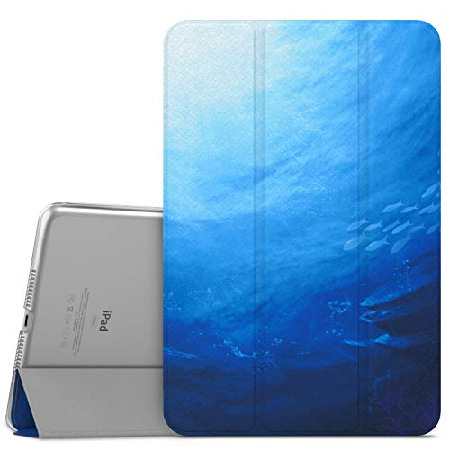 MoKo Case Fit iPad Mini 4 - Slim Lightweight Smart-Shell Stand Cover with Translucent Frosted Back Protector Fit iPad Mini 4 7.9 2015 Release Tablet, Ocean (with Auto Wake/Sleep)