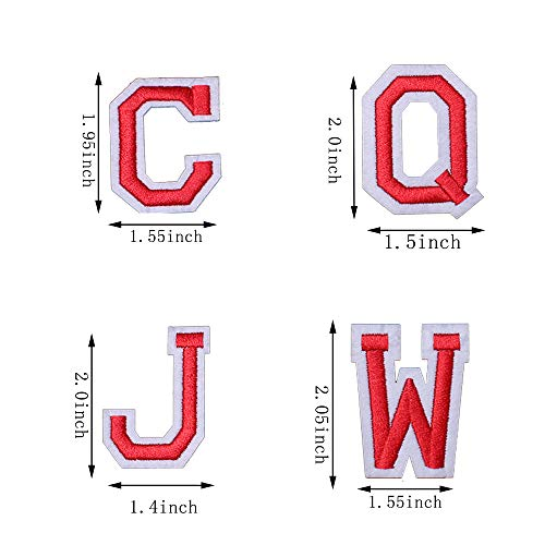 J.CARP Alphabet A to Z Patches, Iron on Sew on Letters for Clothe, 26pcs Red