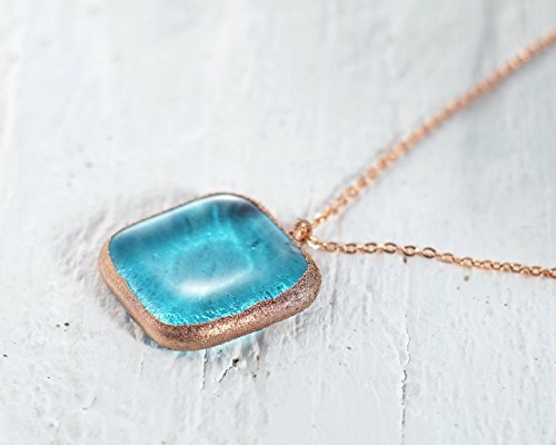 Bombay Sapphire Gin Bottle (Copper-Framed Miniature Gin Bottle Necklace - Recycled Airline-Size Bombay Sapphire Bottle Pendant)