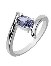 0.55ctw, Genuine Tanzanite 4x6mm Oval & Solid .925 Sterling Silver Rings