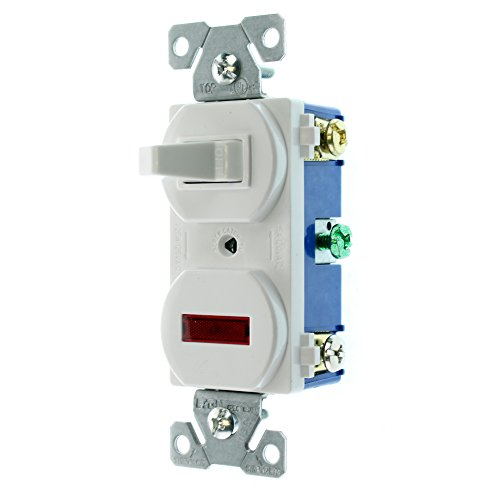 (EATON Wiring 277W 15-Amp 120-volt Combination Single Pole Toggle Switch and Pilot Light with Back and Side Wiring, White)