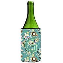 Letter G Circle Circle Teal Initial Alphabet Wine Bottle Beverage Insulator Hugger CJ2015-GLITERK